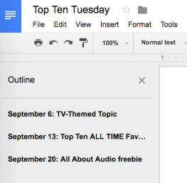 Top Ten Tuesday Document Outline